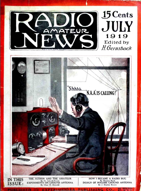 封面:嘘,小点声!100年前的7月,第一期的《业余无线电新闻》出版了